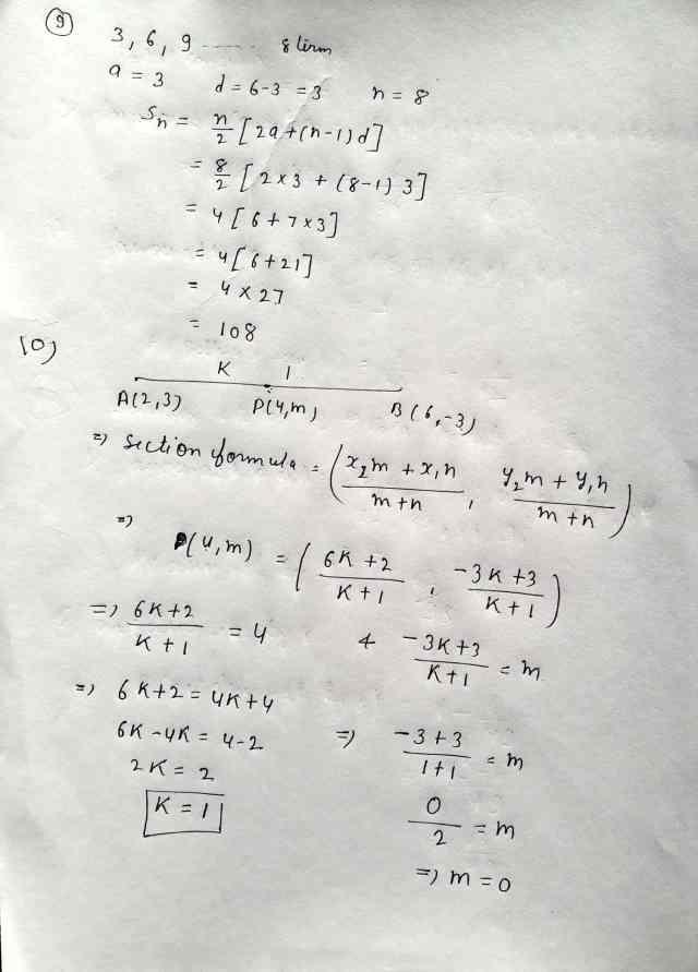 Class 10 Maths Exam Paper Section-B (Q9,Q10)