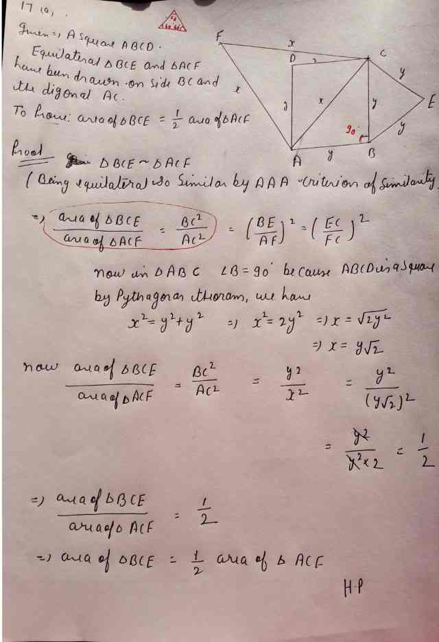 Class 10 Maths Exam Paper Section-C(Q17) Option 1