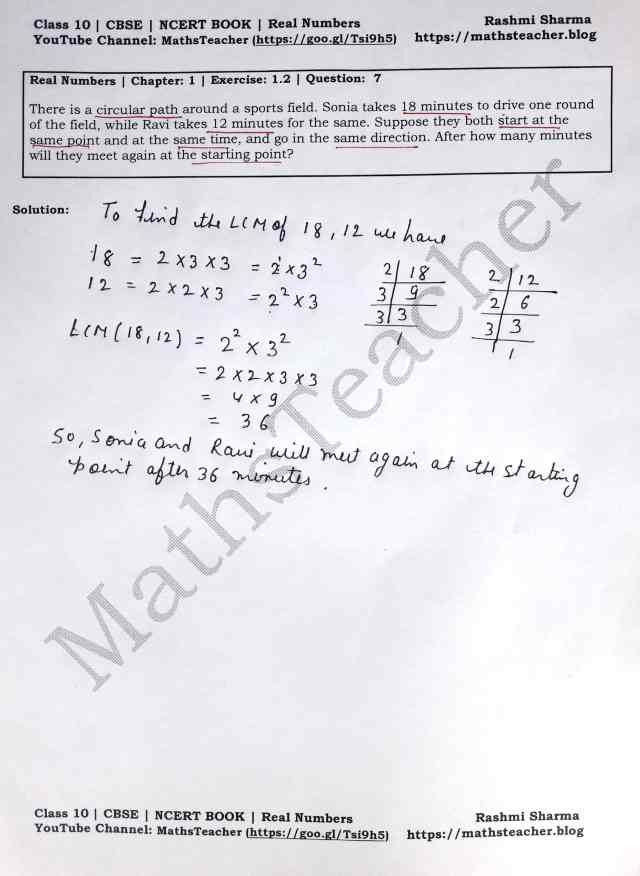 Class 10 Maths Real Numbers Exercise 1.2 Question 7
