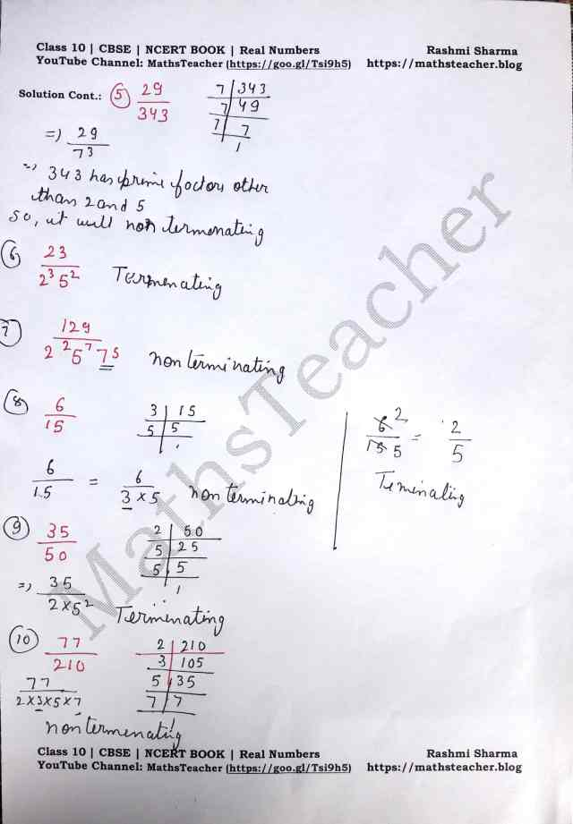 Class 10 Maths Real Numbers Exercise  1.4 Question 1 Part 2