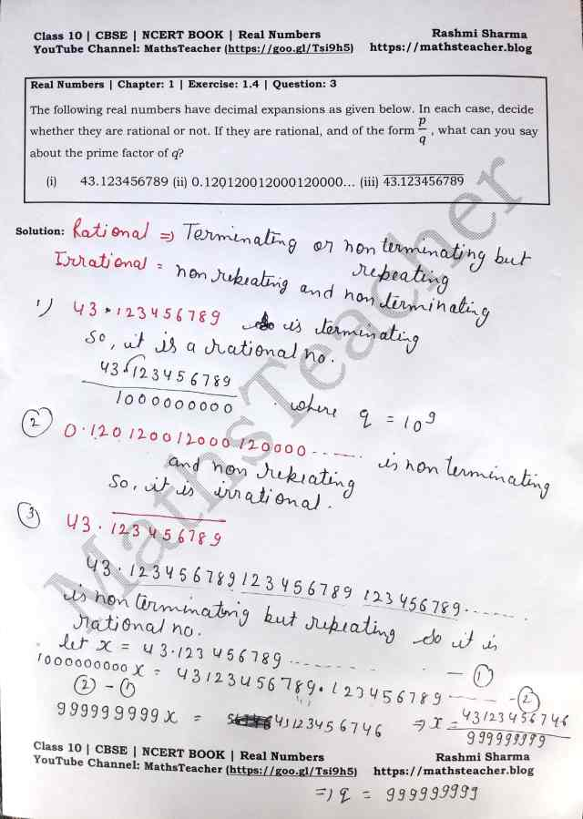 Class 10 Maths Real Numbers Exercise1.4 Question 3