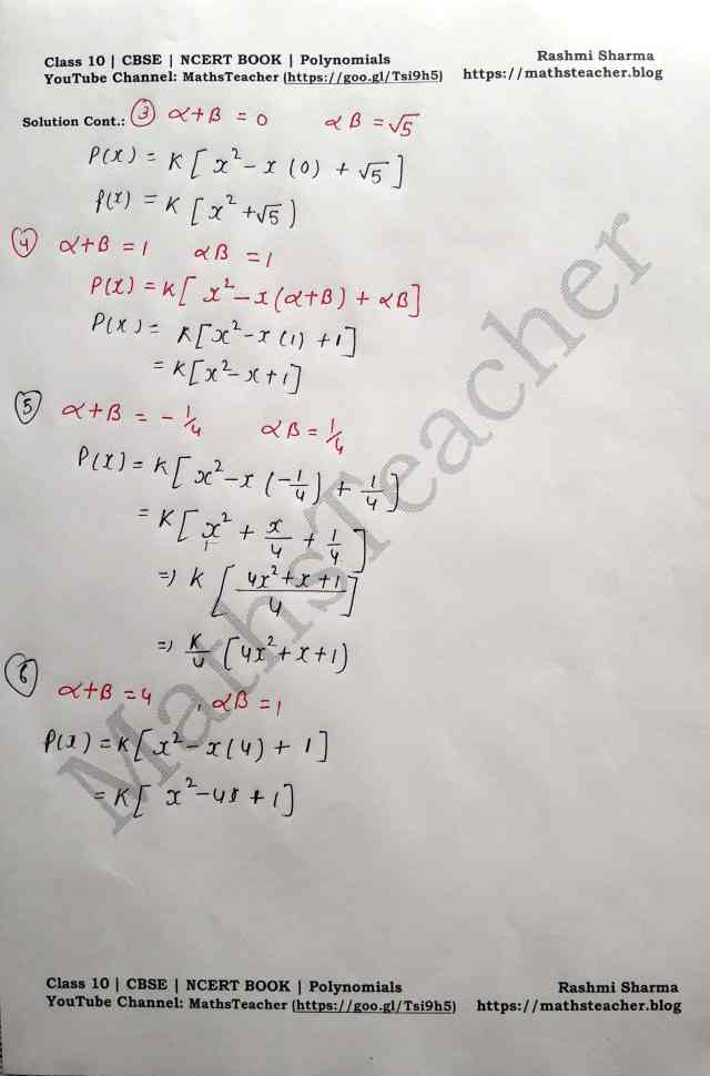 Class 10 Maths Polynomials Exercise 2.2 Question 2 (All 6 parts)