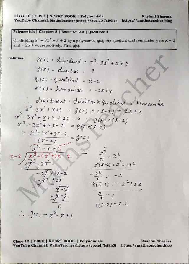 Class 10 Maths Chapter 2 Polynomials Ex 2.3 Question 4