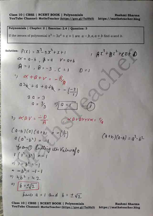 Class 10 Maths Chapter 2 Polynomials Ex 2.4 Question 3