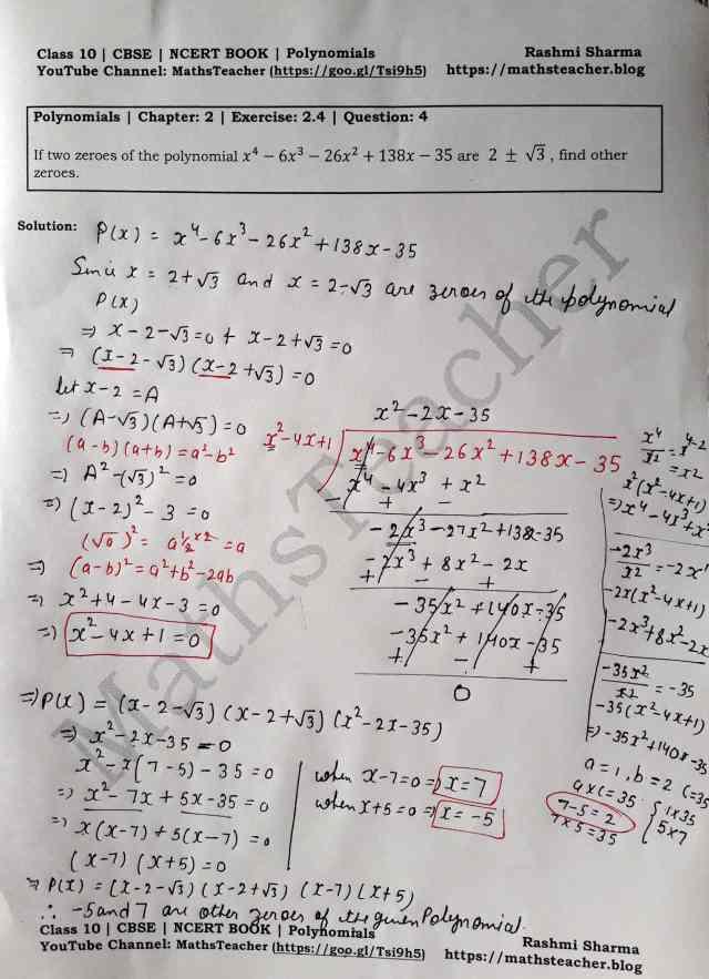 Class 10 Maths Chapter 2 Polynomials Ex 2.4 Question 4