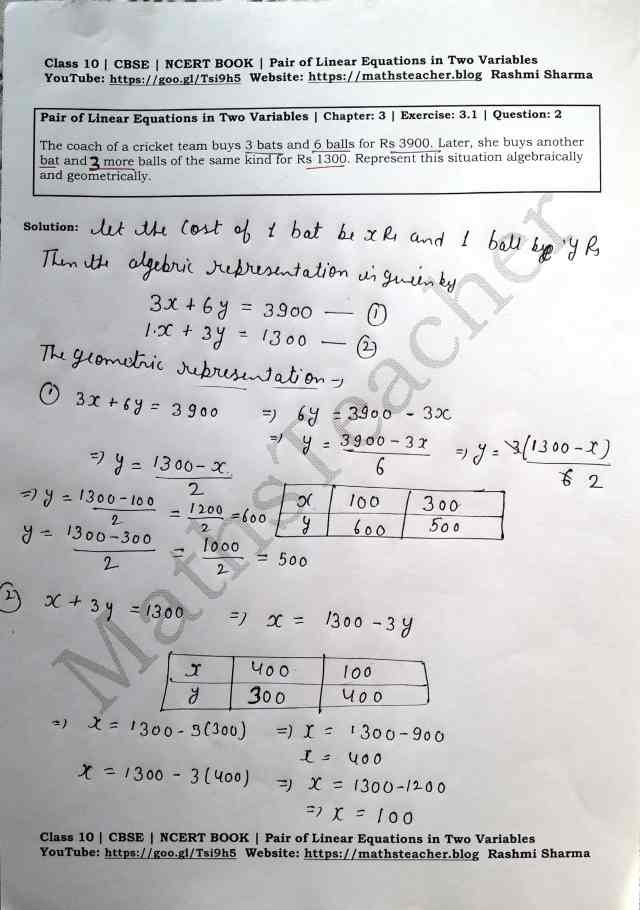 Class 10 Maths Chapter 3 Pair of Linear Equations in 2 variables Ex 3.1 Question 2