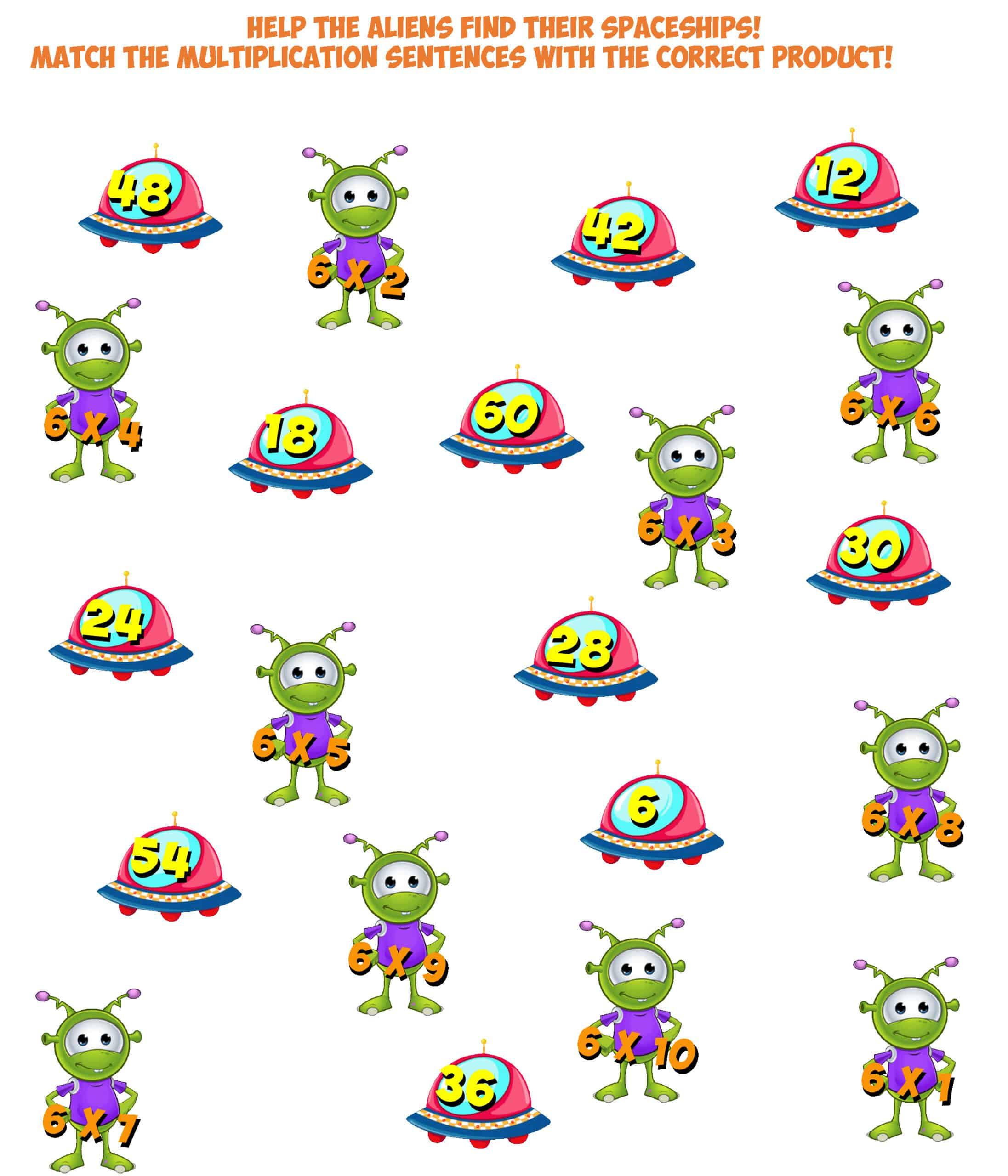 Alien Match Worksheet 6x Multiplication Facts