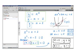 An example of online maths tuition for C1 Core Maths. The topic is non-linear simultaneous equations.