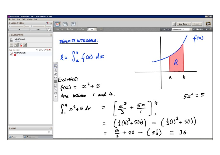An example of online maths tuition for C2 Core Maths. The topic is definite integration.