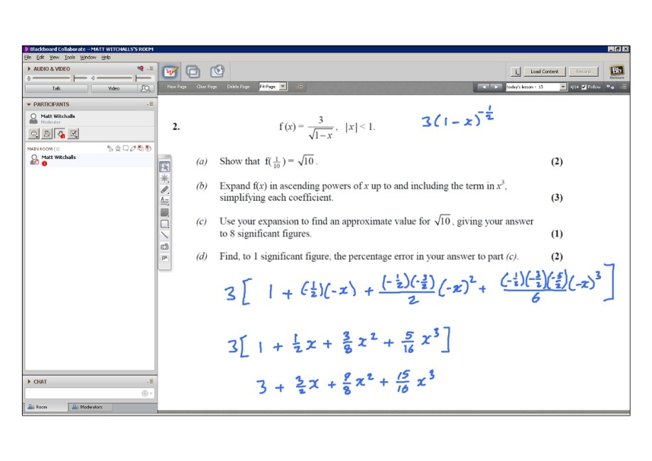 An example of online maths tuition for C4 Core Maths. The topic is binomial expansion.