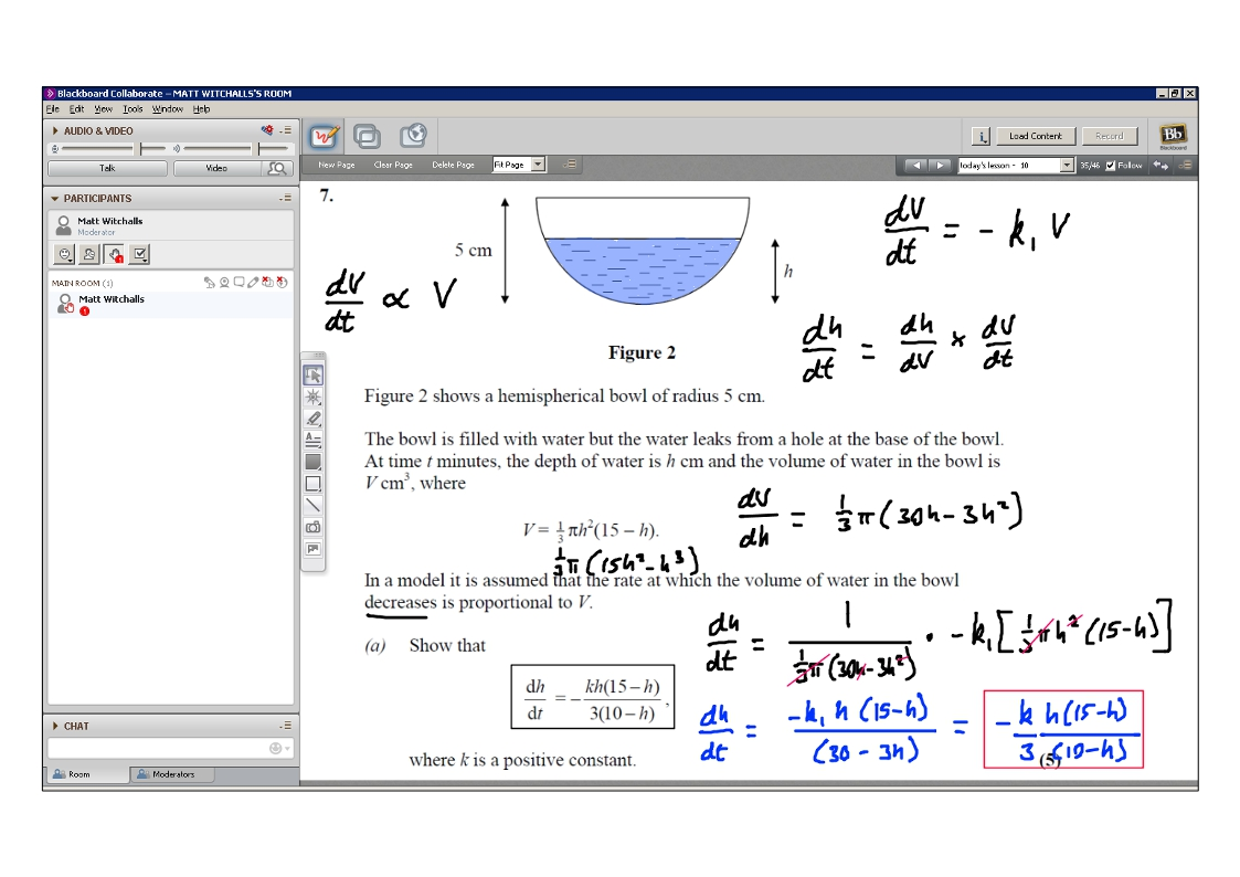 An example of online maths tuition for A2 level. The topic is connected rates of change.