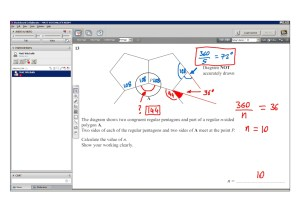 An example of online maths tuition for GCSE or IGCSE level. The topic is polygons and the problem involves finding the number of sides from the internal angle.