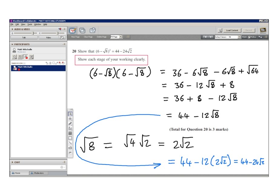 An example of online maths tuition for GCSE or IGCSE level. The topic is surds.