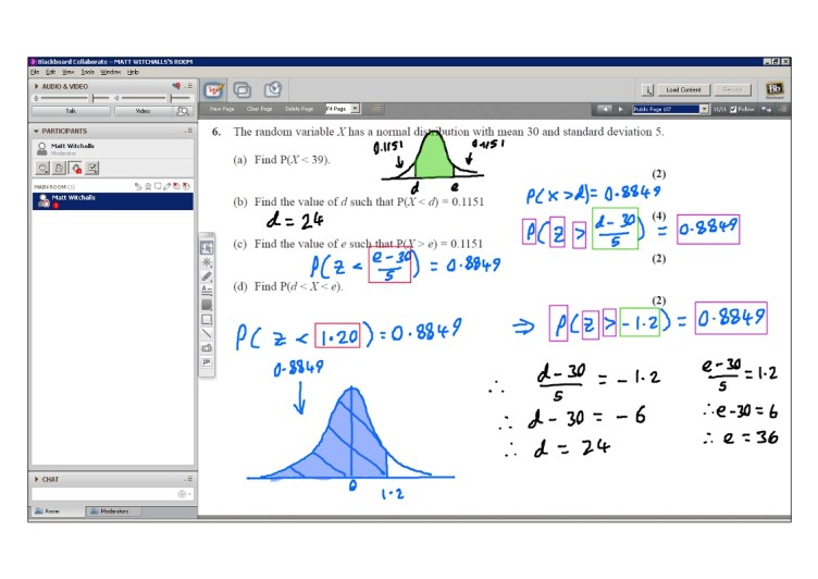 An example of online maths tuition for S1 Statistics. The topic is the Normal Distribution.