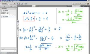 An example of online maths tuition. The topic is deriving the quadratic formula using completing the square.