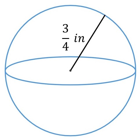 Find the volume of a sphere when the radius of the sphere is 3/4 in