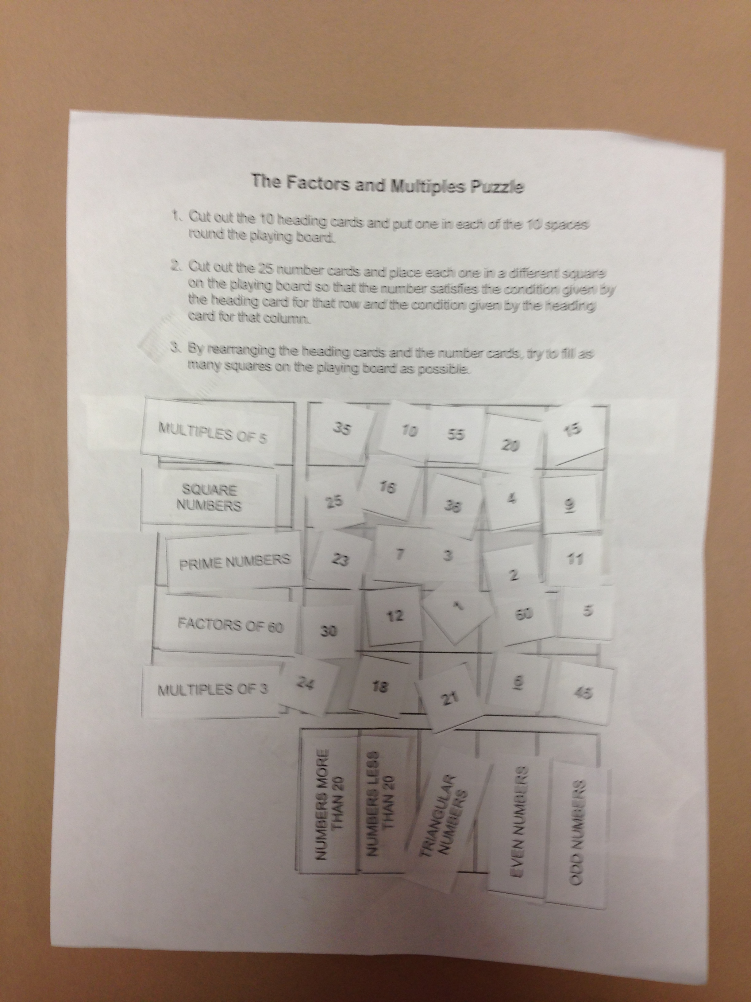Worksheet On Factors And Multiples