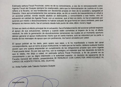 Fiscal Joselito Arguello renunció