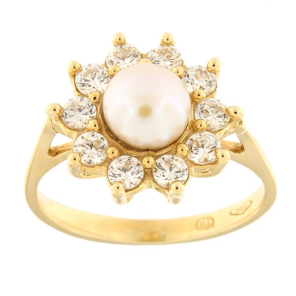 Gold ring with zircon and freshwater pearl Code: 110pt