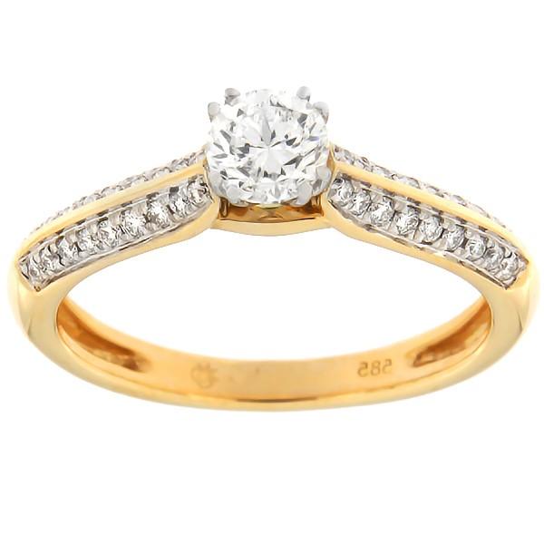 Kullast sõrmus teemantidega 0,55 ct. Kood: 136af