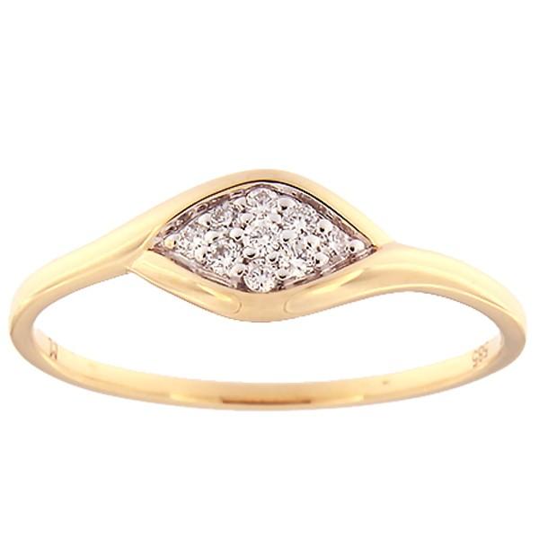 Kullast sõrmus teemantiga 0,08 ct. Kood: 136ak