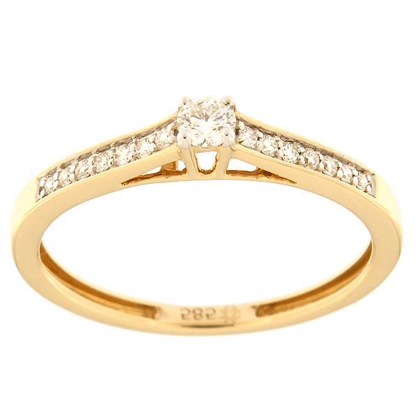 Kullast sõrmus teemantidega 0,16 ct. Kood: 136ax