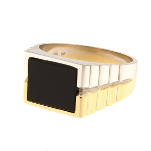 Gold men's ring with onyx Code: 1405b