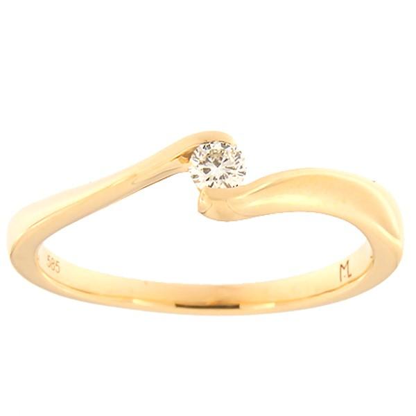 Kullast sõrmus teemantiga 0,10 ct. Kood: 140ak