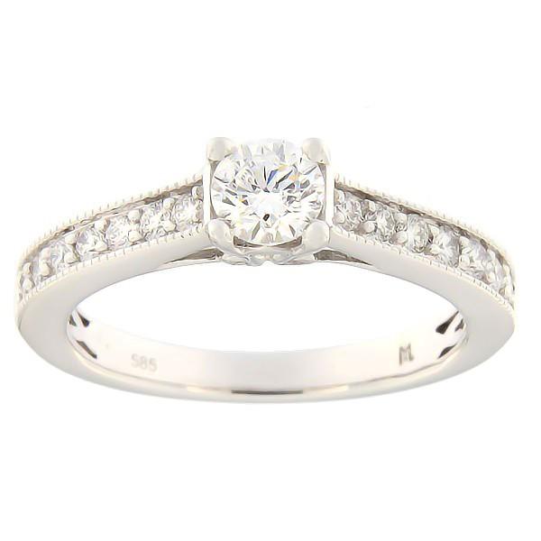 Kullast sõrmus teemantiga 0,66 ct. Kood: 142ak