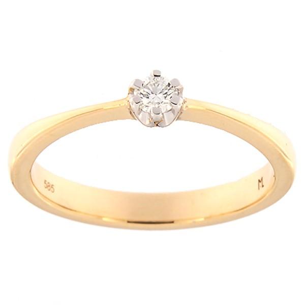 Kullast sõrmus teemantiga 0,09 ct. Kood: 143ak