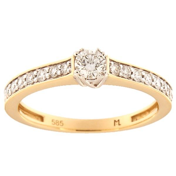 Kullast sõrmus teemantidega 0,45 ct. Kood: 147ak