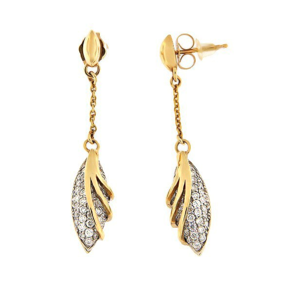 Kullast kõrvarõngad teemantidega 0,83 ct. Kood: 151ac