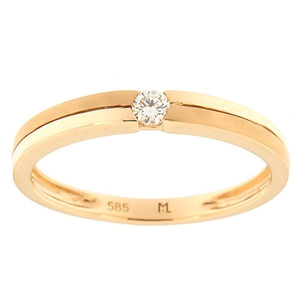 Kullast sõrmus teemantiga 0,07 ct. Kood: 156ak