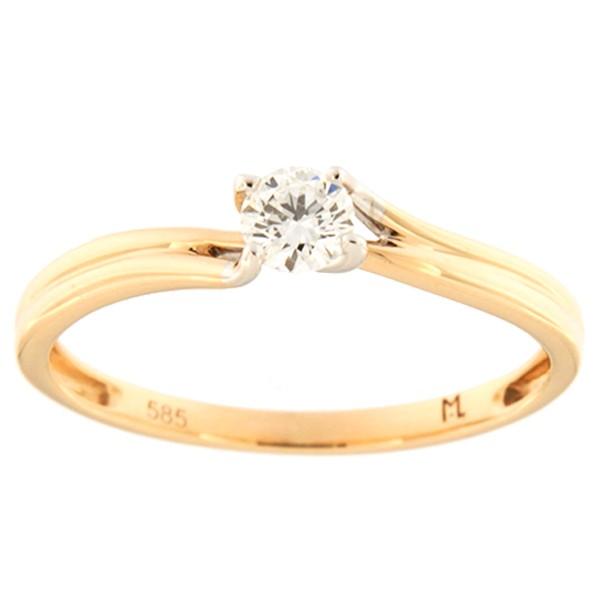 Kullast sõrmus teemantiga 0,19 ct. Kood: 160ak