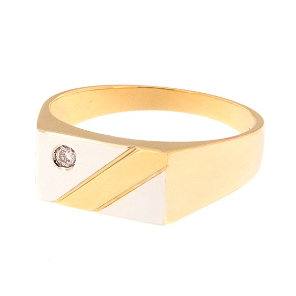 Gold men's ring with diamond Code: 338b