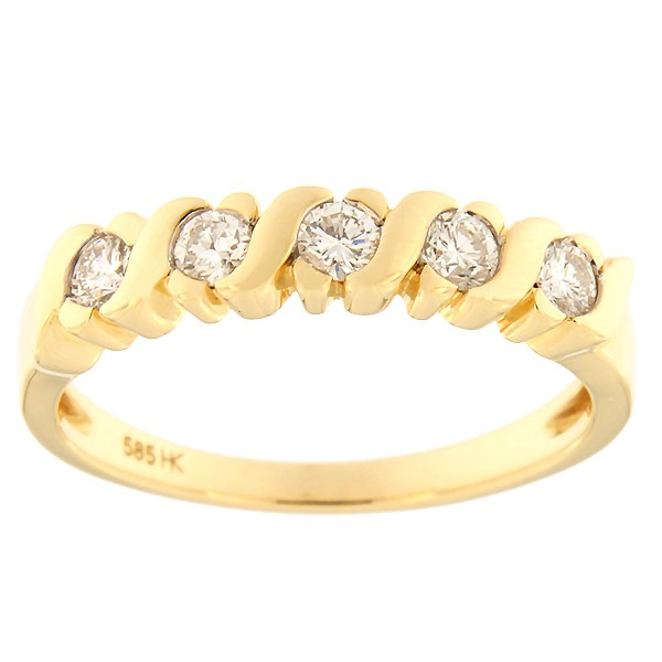Kullast sõrmus teemantidega 0,35 ct. Kood: 48ha