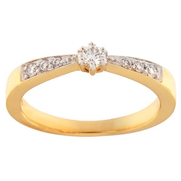 Kullast sõrmus teemantidega 0,19 ct. Kood: 50ax