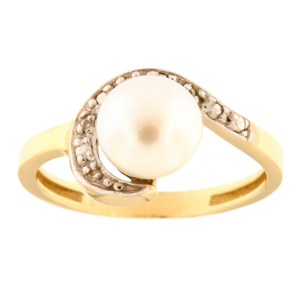 Gold ring with freshwater pearl and zircons Code: 793wp1021