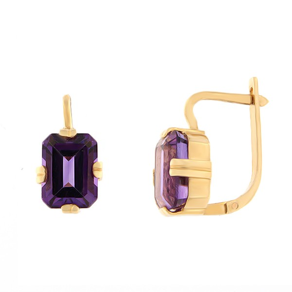 Gold earrings with amethyst Code: er0118-ametüst