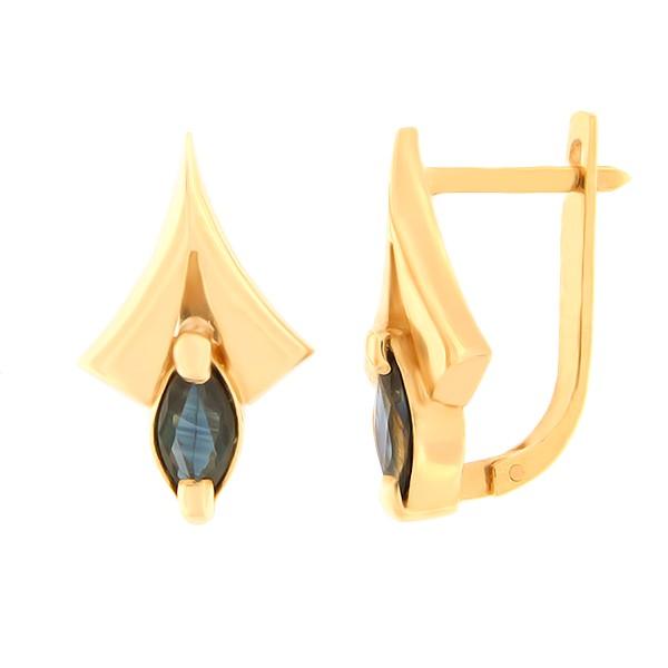 Kullast kõrvarõngad safiiriga Kood: er0305-safiir