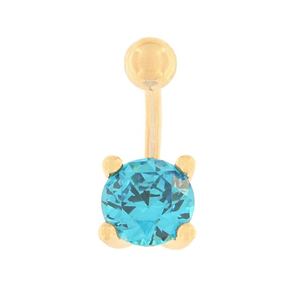 Gold belly button ring with zircon Code: pn0141-helesinine