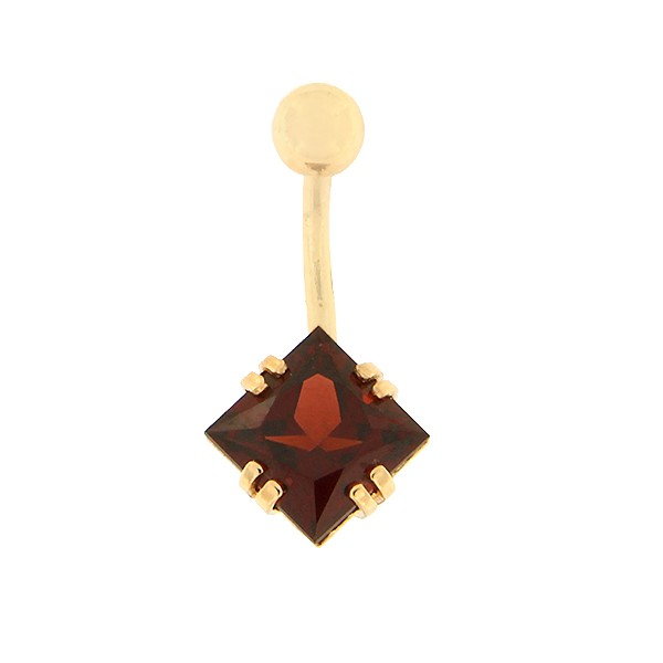 Gold belly button ring with garnet Code: pn0152-granaat