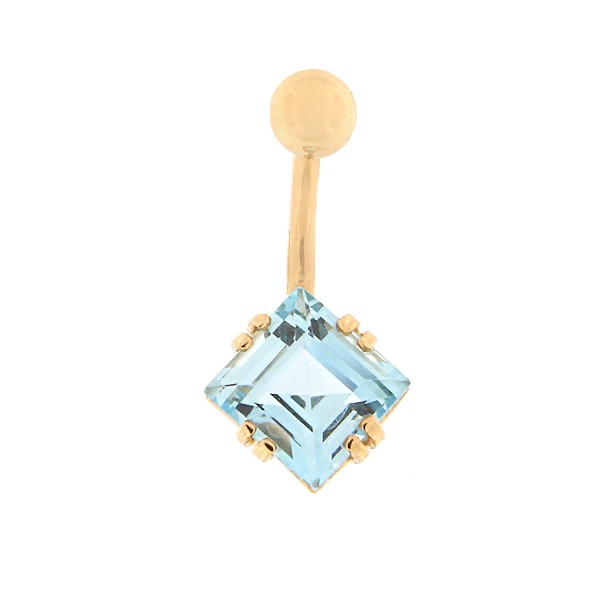 Gold belly button ring with topaz Code: pn0152-topaas