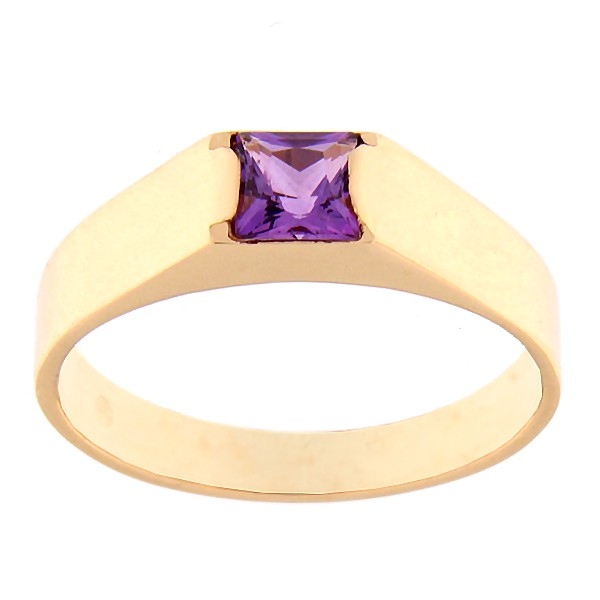 Gold ring with amethyst Code: rn0123-ametyst