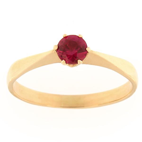 Gold ring with zircon Code: rn0127-punane