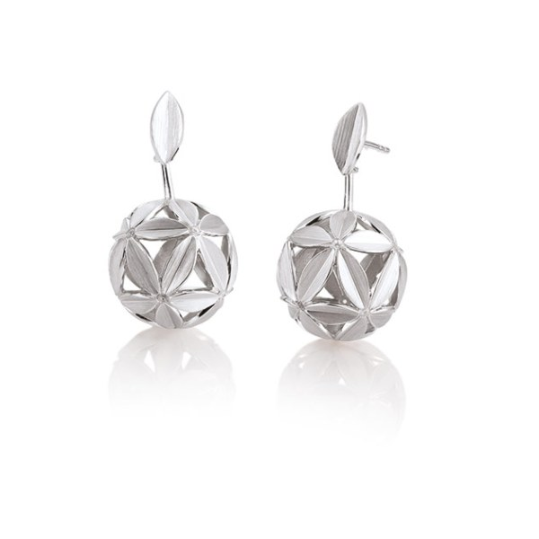 Silver earrings with white sapphire Code: 12030390