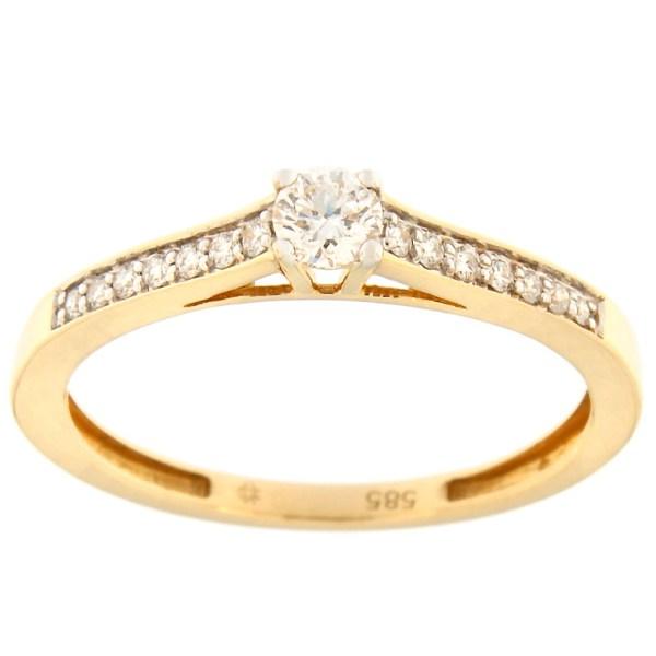 Kullast sõrmus teemantidega 0,24 ct. Kood: 137ax