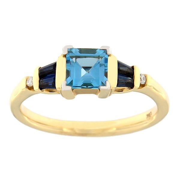 Kullast sõrmus teemandite, safiiride ja topaasiga Kood: 53sb