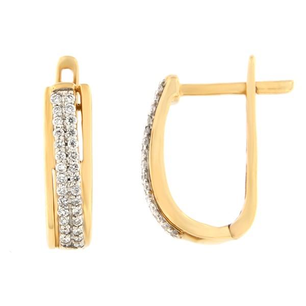Kullast kõrvarõngad teemantidega 0,17 ct. Kood: 23af
