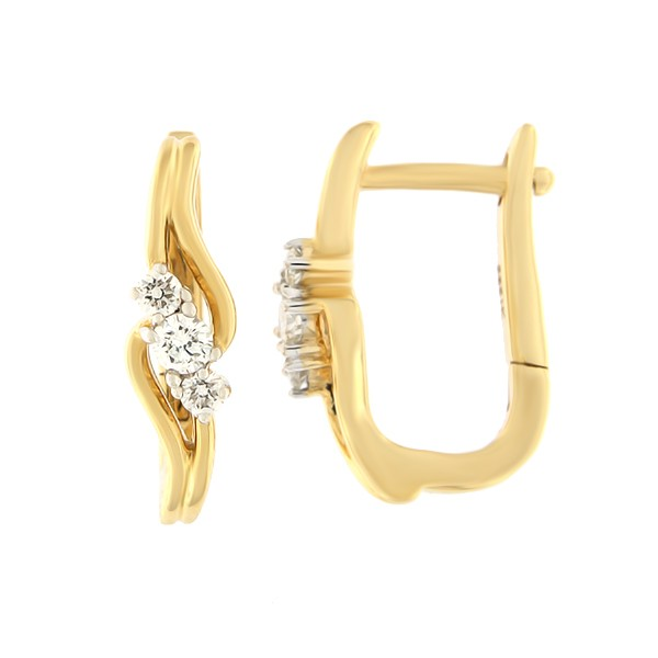Kullast kõrvarõngad teemantidega 0,25 ct. Kood: 68ha